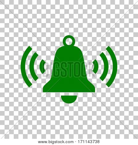 Ringing bell icon. Dark green icon on transparent background.