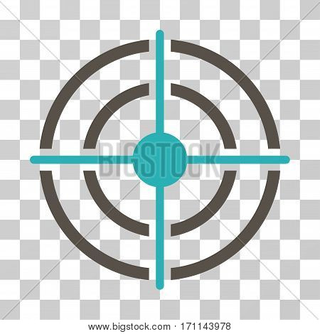 Target icon. Vector illustration style is flat iconic bicolor symbol grey and cyan colors transparent background. Designed for web and software interfaces.
