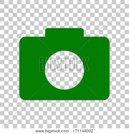 Digital camera sign. Dark green icon on transparent background.