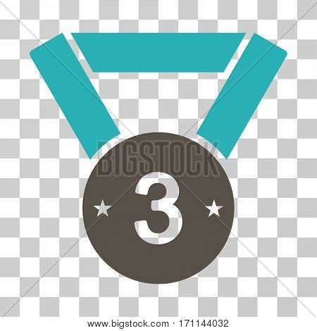Third Medal icon. Vector illustration style is flat iconic bicolor symbol grey and cyan colors transparent background. Designed for web and software interfaces.