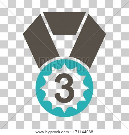 Third Place icon. Vector illustration style is flat iconic bicolor symbol grey and cyan colors transparent background. Designed for web and software interfaces.