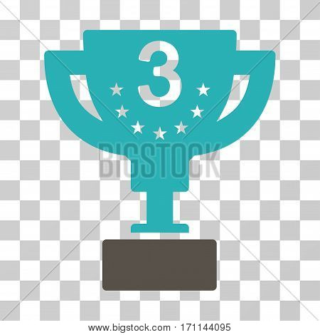 Third Prize Cup icon. Vector illustration style is flat iconic bicolor symbol grey and cyan colors transparent background. Designed for web and software interfaces.