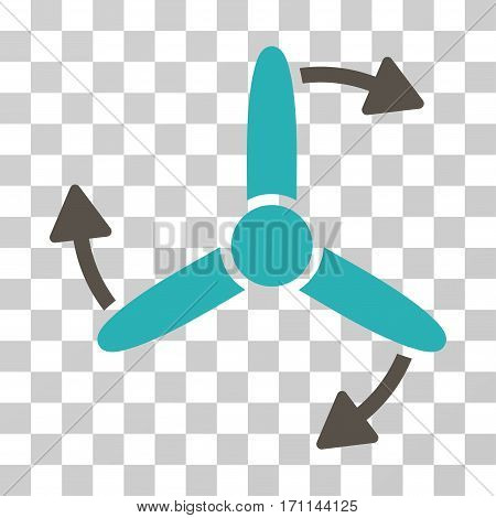 Three Bladed Screw Rotation icon. Vector illustration style is flat iconic bicolor symbol grey and cyan colors transparent background. Designed for web and software interfaces.