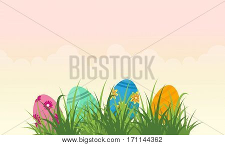 Collection stock of easter egg landscape vector flat