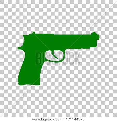 Gun sign illustration. Dark green icon on transparent background.