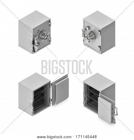 3d rendering of a broken metal safe box in open and closed state in double-sided isometric view. Banking and investment. Safekeeping and risk. Money loss.