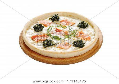 Amante. Cream sauce, mozzarella, semha. Isolated on white background Restaurant cuisine