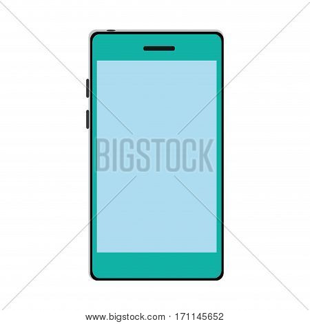 color silhouette with modern cellphone vector illustration