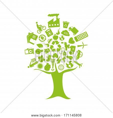 tree with enviroment of recycle and ecology vector illustration