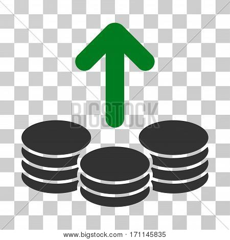 Payout Coins icon. Vector illustration style is flat iconic bicolor symbol green and gray colors transparent background. Designed for web and software interfaces.