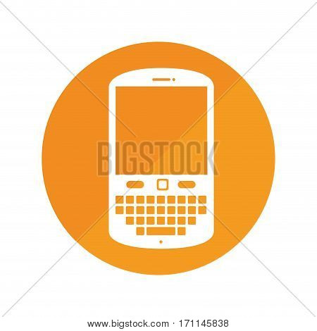 round frame with cellphone with keyboard vector illustration