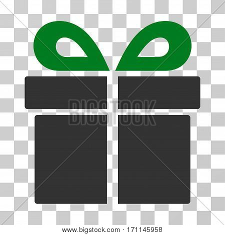 Present icon. Vector illustration style is flat iconic bicolor symbol green and gray colors transparent background. Designed for web and software interfaces.