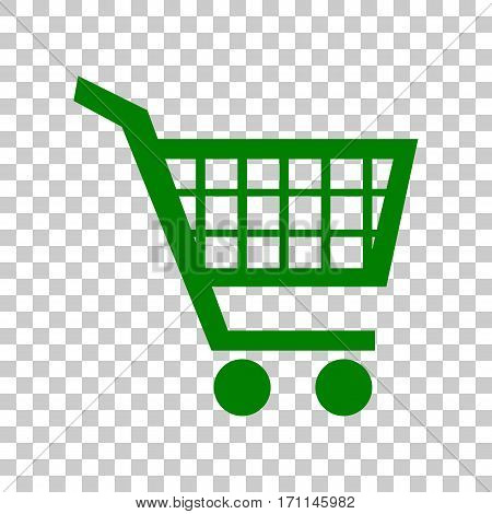 Shopping cart sign. Dark green icon on transparent background.