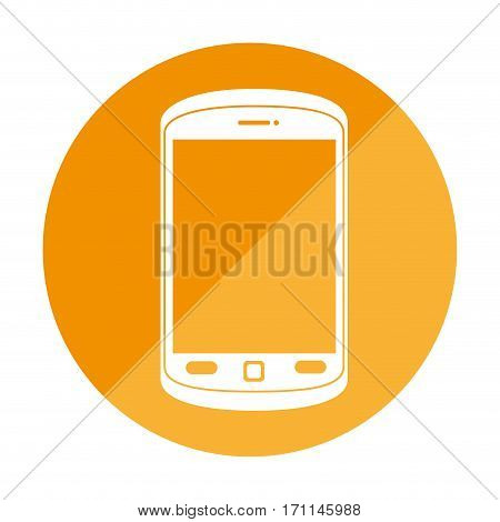 round frame with cellphone with buttons vector illustration