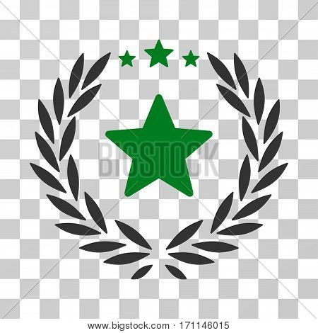 Proud Emblem icon. Vector illustration style is flat iconic bicolor symbol green and gray colors transparent background. Designed for web and software interfaces.