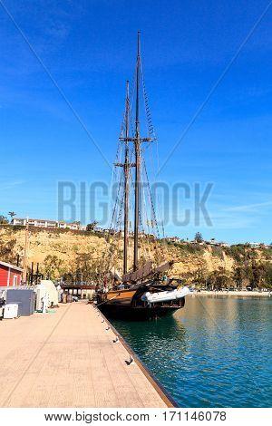 Spirit Of Dana Point Sailboat Docked In Dana Point Harbor