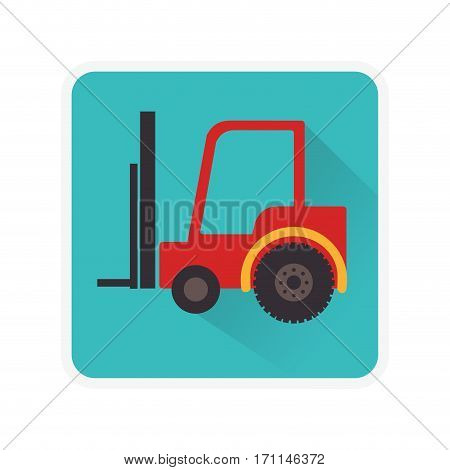square frame with forklift truck with forks vector illustration