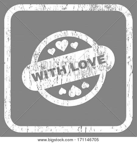With Love Stamp Seal rubber watermark. Vector icon symbol inside rounded rectangle with grunge design and scratched texture. Stamp seal illustration. Unclean white ink sign on a gray background.