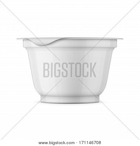 Round white glossy plastic pot with foil cover for yogurt, cream, dessert or jam. 200 ml. Realistic packaging mockup template. Side view. Vector illustration.