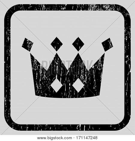 Crown rubber watermark. Vector icon symbol inside rounded rectangular frame with grunge design and scratched texture. Stamp seal illustration. Unclean black ink sticker on a light gray background.