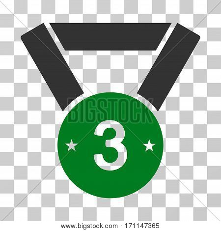 Third Medal icon. Vector illustration style is flat iconic bicolor symbol green and gray colors transparent background. Designed for web and software interfaces.