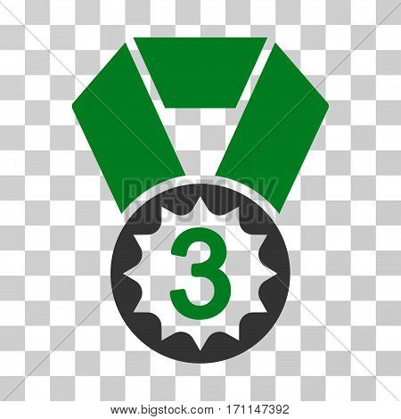 Third Place icon. Vector illustration style is flat iconic bicolor symbol green and gray colors transparent background. Designed for web and software interfaces.