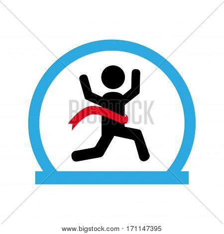 circle shape with runner crossing finish line vector illustration
