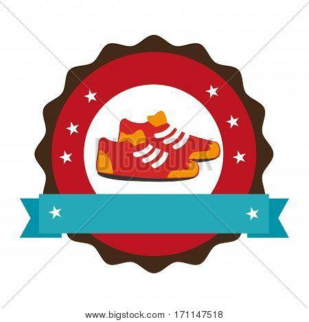 circular emblem with ribbon and sports shoes vector illustration
