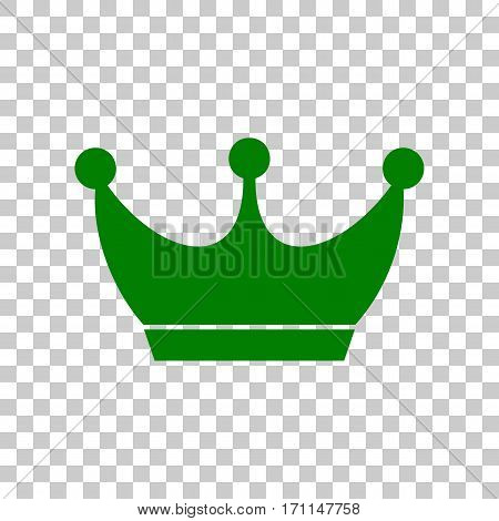 King crown sign. Dark green icon on transparent background.