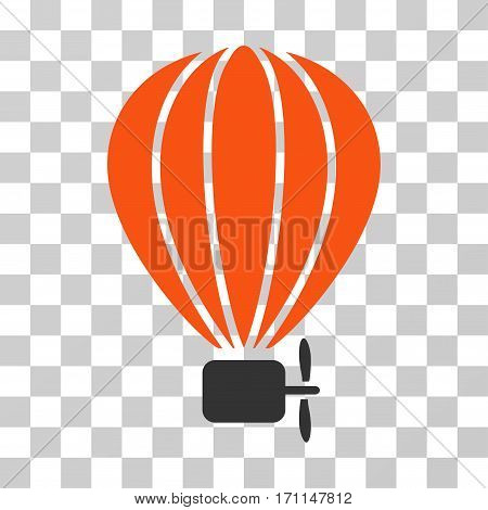 Aerostat Balloon icon. Vector illustration style is flat iconic bicolor symbol orange and gray colors transparent background. Designed for web and software interfaces.