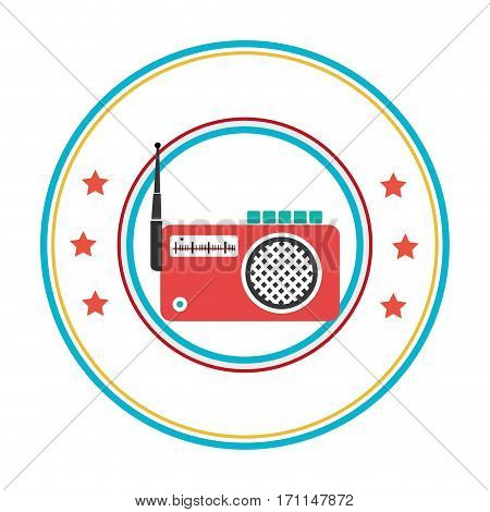 color circular frame with radio stereo vector illustration