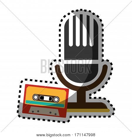 sticker color silhouette with microphone and tape cassette vector illustration
