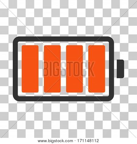 Battery icon. Vector illustration style is flat iconic bicolor symbol orange and gray colors transparent background. Designed for web and software interfaces.