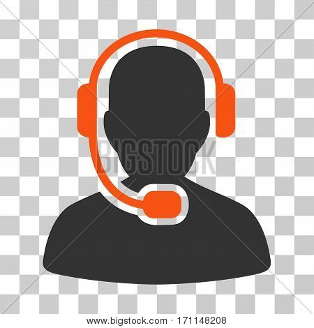 Call Center Operator icon. Vector illustration style is flat iconic bicolor symbol orange and gray colors transparent background. Designed for web and software interfaces.