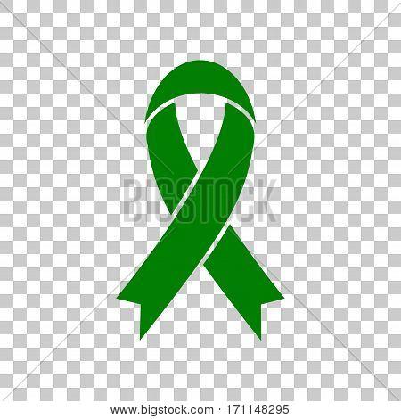 Black awareness ribbon sign. Dark green icon on transparent background.
