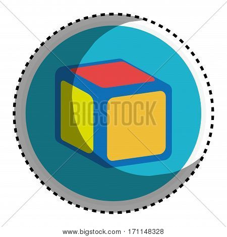 sticker circular shape with toy cube vector illustration