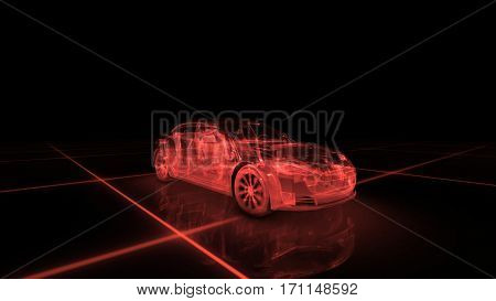 Sport car wire model with red neon ob black background. 3d render
