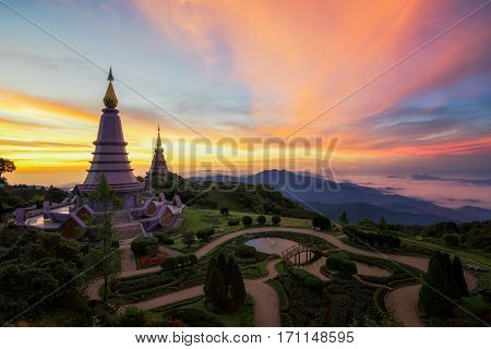 King and queen double pagoda on top of Inthanon mountain Inthanon national park Chiang mai nort of Thailand.