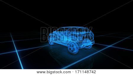 Sport car wire model with blue neon ob black background. 3d render