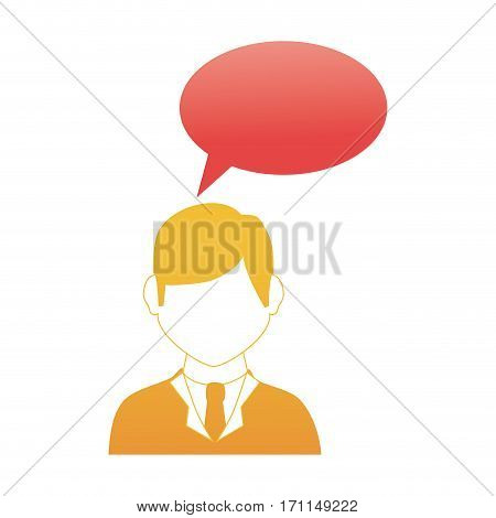 oval callout for dialogue with man half body and suit without face vector illustration