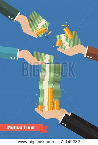 Fund manager holding cash money. Business concept