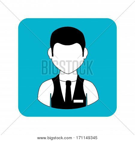 square frame with half body man with waistcoat and tie vector illustration