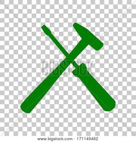 Tools sign illustration. Dark green icon on transparent background.