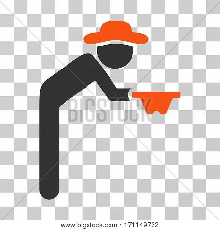 Gentleman Beggar icon. Vector illustration style is flat iconic bicolor symbol orange and gray colors transparent background. Designed for web and software interfaces.