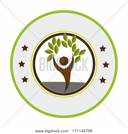 pictogram of circular frame with tree with human form vector illustration