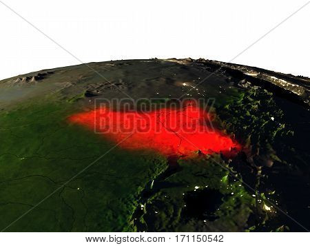 South Sudan From Space At Night