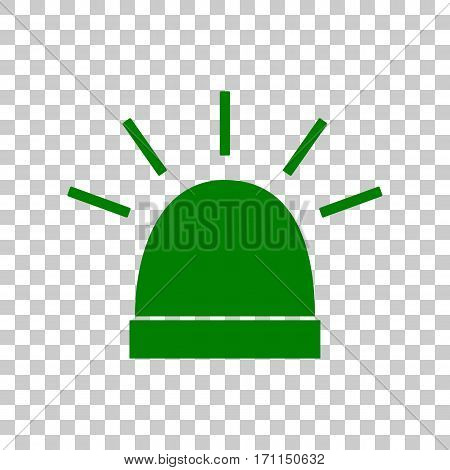 Police single sign. Dark green icon on transparent background.