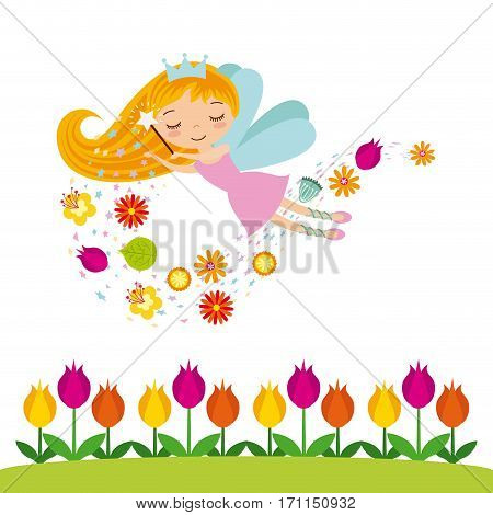 garden with beautiful flowers and fairy girl icon over white background. colorful design. vector illustration