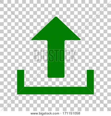 Upload sign illustration. Dark green icon on transparent background.