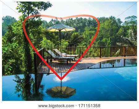 The heart and Bali background. Abstract swimming pool and love to Bali concept